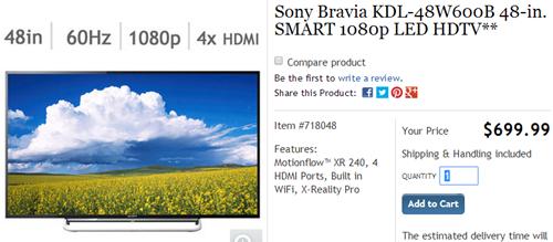 Sony KDL-48W600B (click to Costco page)