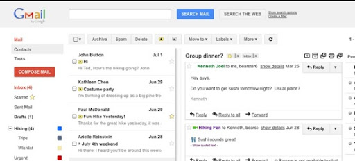 activar 3 columnas en Gmail