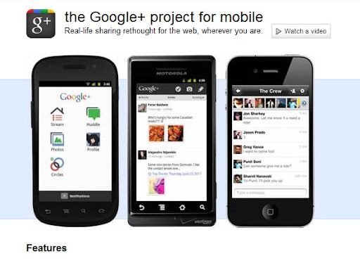 Google+ para Android, iPhone y Blackberry