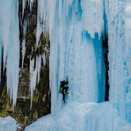 Ice climbing by Mark Ungless - Sports & Fitness Climbing ( climbing, ice, waterfall, frozen, banff )