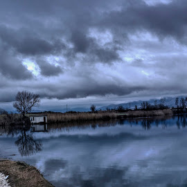 Lake by Stratos Lales - Landscapes Cloud Formations ( clouds, reflection, sky, tree, lake )