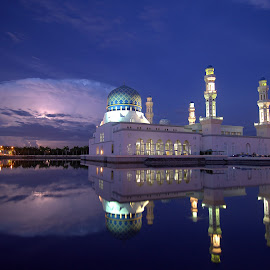 Lightning at Mosque by Melanie Chieng - Buildings & Architecture Places of Worship ( water reflection, lightning, mosque )