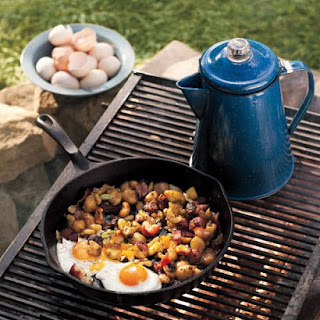 Campfire Fried Eggs With Potato-and-Bacon Hash