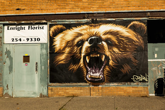 Added during our yearly WALL\THERAPY fundraiser in May, Mr. Prvrt added a grizzly bear to the Rochester Public Market.