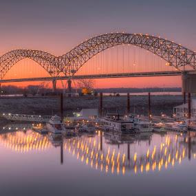 The Big M by Ajit Pillai - Buildings & Architecture Bridges & Suspended Structures ( sunset, reflections, bridge, light, river,  )