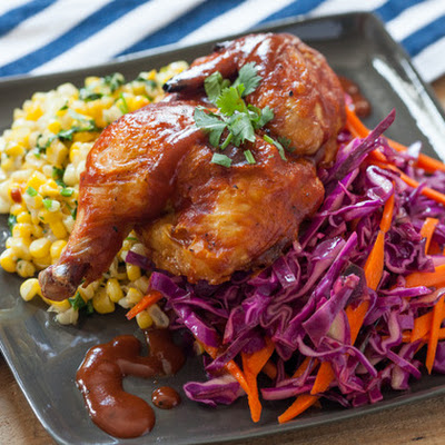 Barbecue Cornish Game Hen with Coleslaw & Sautéed Corn