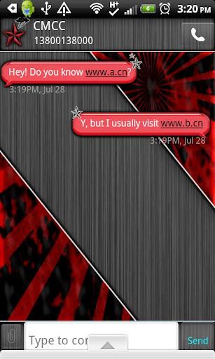 GO SMS THEME VibrantRedMale