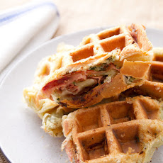 Savory Mortadella, Garlic, and Caper Puff-Pastry Waffle