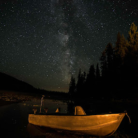 Under the Milky Way by Bonnie Davidson - Landscapes Starscapes ( water, lake, landscape, boat, milky way, canon 6d, mountains, penticton, stars, trees, night, solco lake, bc, british columbia,  )