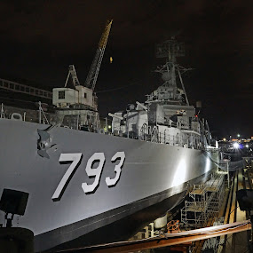 The USS Cassin Young in Drydock by Jeff Stallard - Transportation Other ( national park, boston, shipyard, destroyer, uss cassin young, drydock )