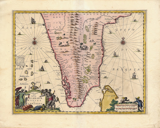 Johan NIEUHOF (1618-1672). [Southern India]. Landt caert vande Cust van Malabaer, Madura en Cormendel. Amsterdam, 1682. Copper engraving, with original hand colour, 35 x 42.8 cm.  An elegant Dutch map depicting Southern India during the apogee of the VOC's involvement in the region, made for the diplomat Johan Nieuhof.   This fine example of the contemporary Baroque style of Dutch cartography portrays Southern India as it was conceived in the 1660s, during the height of the Dutch East India Company's (the VOC's) power in the region.  The map was drafted for the diplomat Johan Nieuhof, and was published posthumously as part of his great work on India and Sri Lanka, Zee- en Lant-Reise door verscheide Gewesten van Oostindien (1682). The year that this map was printed, the VOC engaged the English East India Company in what was known as the 'Pepper War', a high-stakes trade game that nearly bankrupted the latter company.  While the map marks an advancement over Linschoten's map of 1596 (no. 21), it nevertheless preserves many of the earlier work's geographic misconceptions. Notably, the interior of the peninsula is shown to feature a single, central spine of mountains in place of the Western and Eastern Ghats and the Deccan Plateau. The still mysterious nature of the interior is beautifully demonstrated by the appearance of lions and ostriches (African Animals), which accompany depictions of tigers and elephants native to India.