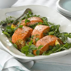 Pan-Seared Salmon with Pea Shoots and Watercress