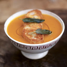 Superb squash soup with the best Parmesan croutons
