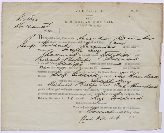 "The depositions in this item are from witnesses against George Goddart, which state that he 'did with other riotously and tumultuously assemble' on the 30 November 1854. <a href=""http://wiki.prov.vic.gov.au/index.php/Eureka_Stockade:Hothams_reply_to_Patrick_Smyth%27s_letter"">Click here to see more of this record n our wiki</a>"