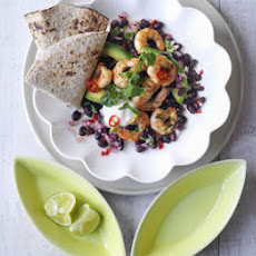 Spiced Prawns With Avocado & Bean Salad