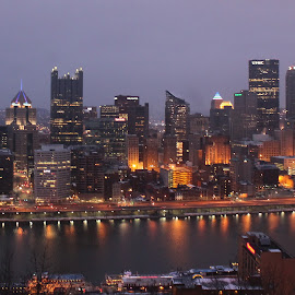 Pittsburgh Pennsylvania by Tina Marie - City,  Street & Park  Skylines ( water, pittsburgh pennsylvania, skyline, skyscraper, pittsburgh, nighttime, buildings, city lights, night, river )
