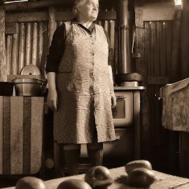 Nonna Rosa by Michele De Stefano - People Family ( montagna, luce, seppia, castagne, nonna,  )