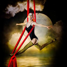 Moondance by Marie Otero - Digital Art People ( www.lostuassie.com, fantasy, model, female, digital art, aerial, surreal, dance, digital, otero, dancer, composite )