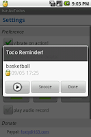 Screenshot of Audio Reminder