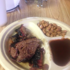 Smoked brisket and pinto beans.