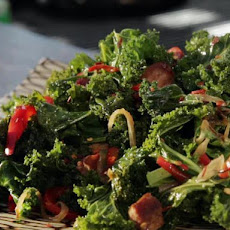 Braised Kale with Red Bell Pepper and Bacon