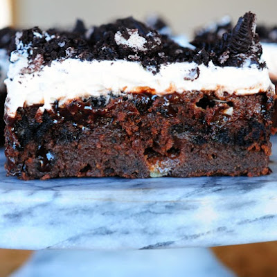Marshmallow Oreo Fudge Cake