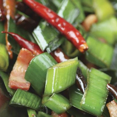 Leek Greens Stir-Fry with Salty Pork Belly