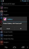 Screenshot of FaceLock for apps