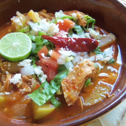 Chicken Enchilada Soup with Chayotes