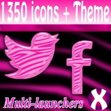 Pink Zebra Starry icon pack