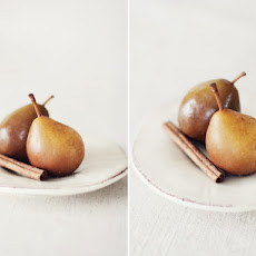 Vanilla Poached Seckel Pears With Honey & Warm Spices