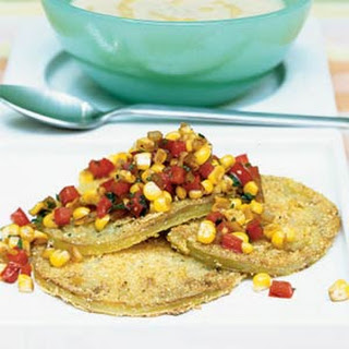 Fried Green Tomato Salad with Warm Corn Salsa