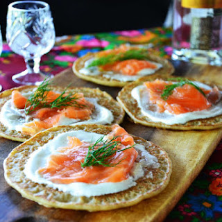 Gravlax with Russian Pancakes and Sour Cream