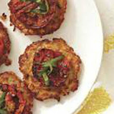 Skillet Corn Fritters with Grilled Tomato Toppers