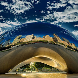 Cloud Gate by Victor Hugo - Buildings & Architecture Statues & Monuments ( clouds, cityscapes, building, city life, cityscape, sun, city, mirror, sculpture, sky, blue, sunset, buildings, cloud, sunrise, chicago, city skyline )