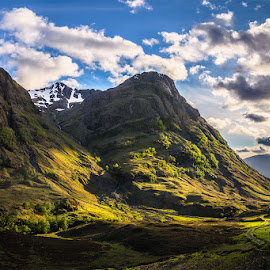 Glencoe by Martin Ziaja - Landscapes Mountains & Hills ( colour, glen coe, scotland, mountains, glencoe, sunset, evening sun, landscape, highlands )