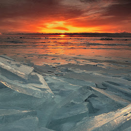 Ice Collage by Gregory Israelson - Landscapes Sunsets & Sunrises