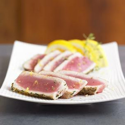 Seared Ahi Tuna with Green Peppercorn-Thyme Crust