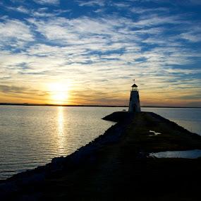 Colorful Sunset  by Stephanie Hampton - Landscapes Sunsets & Sunrises ( oklahoma, sunset, summer, lake, lighthouse. )