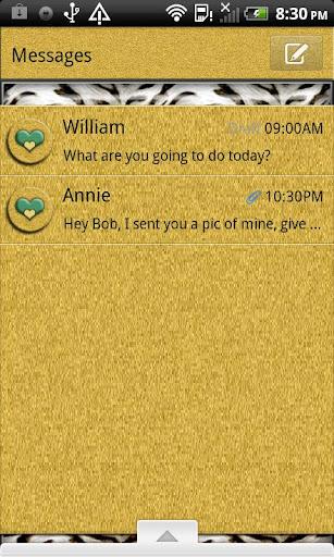 GO SMS THEME GoldTiger4U