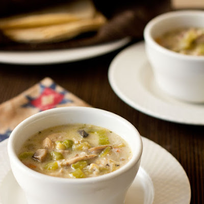 Green Chile Chicken Mushroom Soup