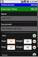 Screenshot of Workout Journal