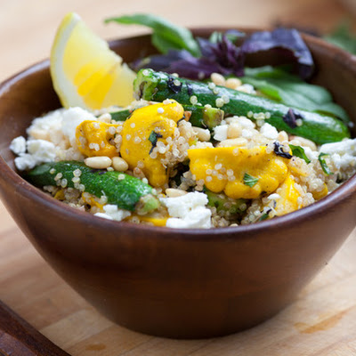 Quinoa with Baby Squash, Basil & French Feta Cheese
