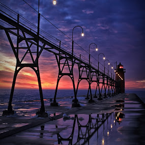 Night of Blue by Charles Anderson Jr - Buildings & Architecture Bridges & Suspended Structures ( light house )
