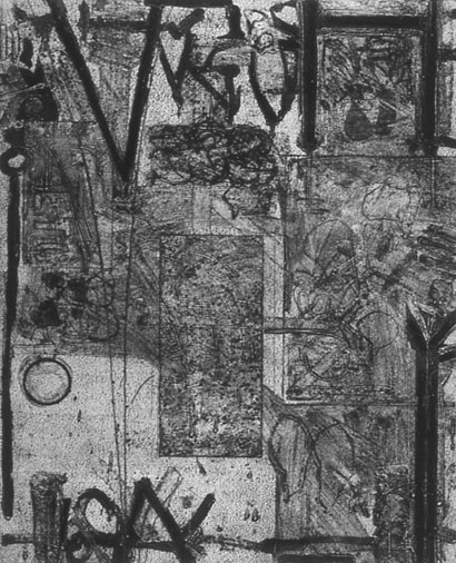 """<p> <strong>Queen's Cross</strong><br /> Collagraph on Stonehenge White<br /> 46"""" x 36 3/4"""" paper<br /> 40"""" x 32"""" image<br /> Edition: 3<br /> 1992<br /> Private collection, West Vancouver</p>"""