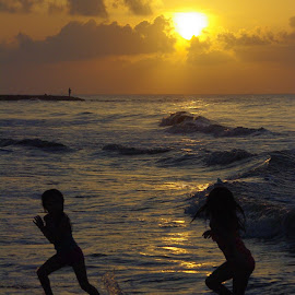 Sunrise at Seawall Beach by Jason Gaston - Babies & Children Children Candids ( water, girls, texas, play, children, sea, ocean, beach, run, sunset, swim, galveston, sunrise )