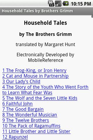 Brothers Grimm Household Tales