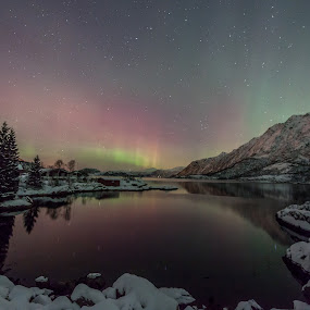 Calm water by Benny Høynes - Landscapes Starscapes ( water, mountains, winter, stars, aurora, norway )