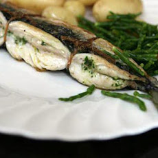 BBQ mackerel stuffed with salsa verde