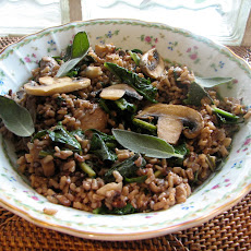 Dandelion Greens and Mushrooms With Wild Rice and Sage
